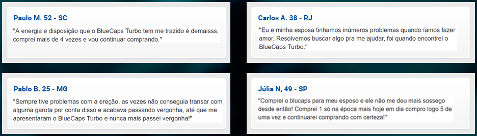 blue caps turbo depoimentos